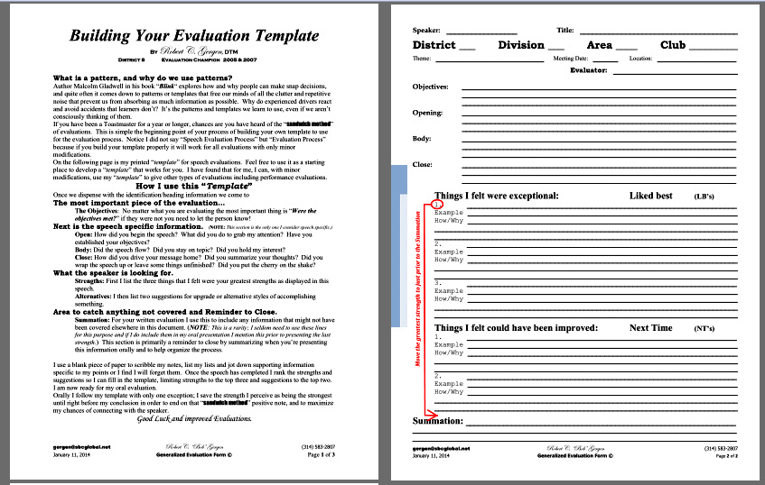 Speech Evaluation Template – Bob Gergen | South County Toastmasters